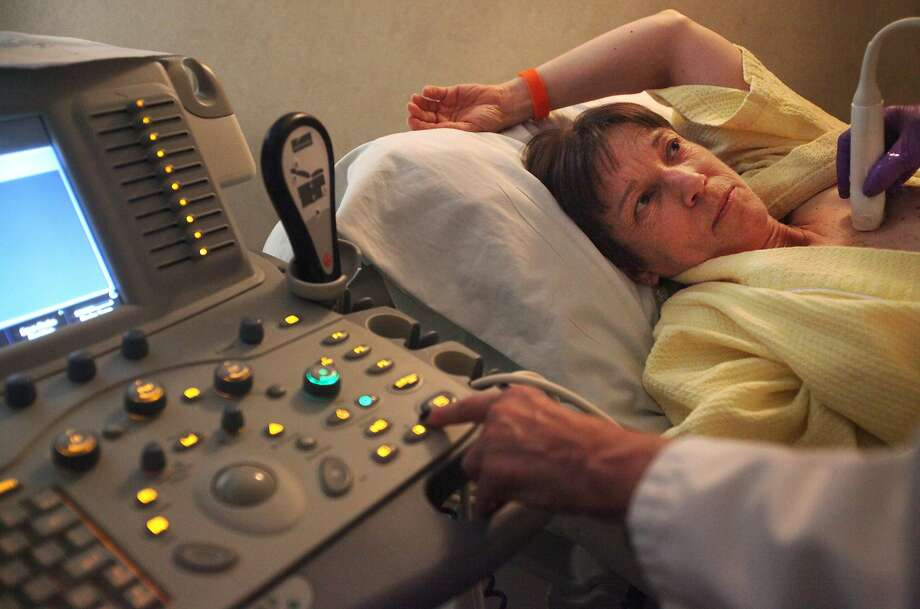 Judy Wellisch receives an ultrasound of her breast from Betsy Liberty at the Mills-Peninsula Women's Center in San Mateo. Photo: Leah Millis, The Chronicle