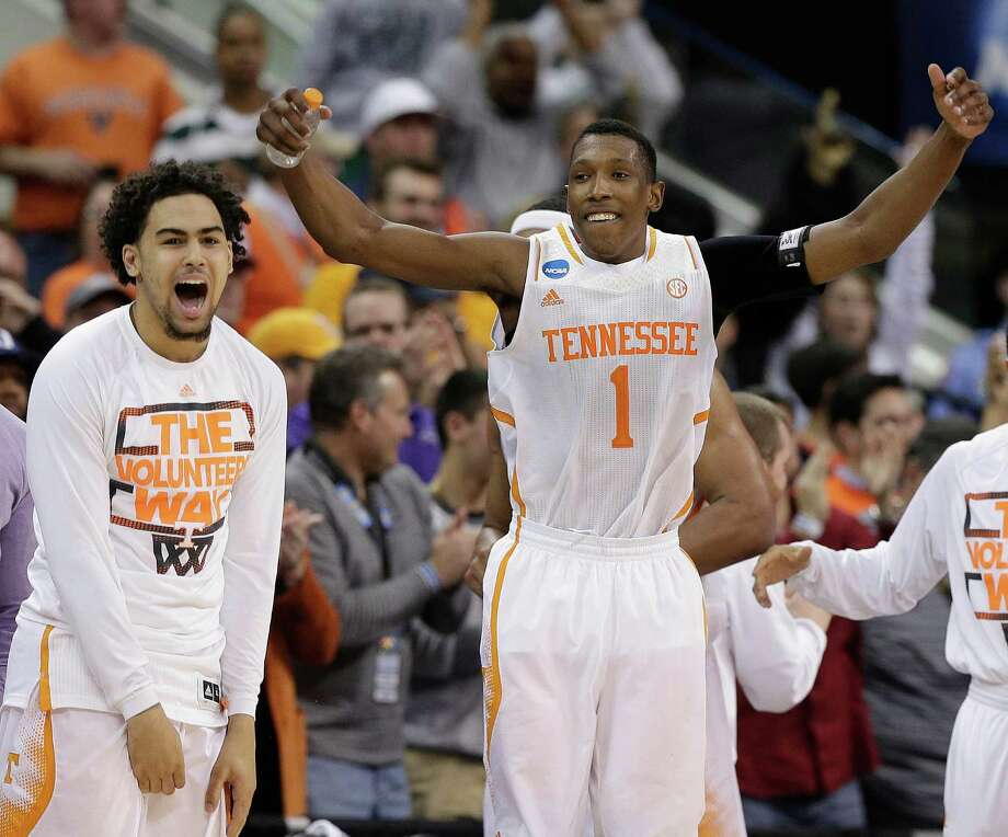 Tennessee guard Josh Richardson (1) celebrates after the second half of an NCAA college basketball third-round tournament game against Mercer, Sunday, March 23, 2014, in Raleigh. Tennessee Won 83-63. (AP Photo/Chuck Burton)  ORG XMIT: NCMS147 Photo: Chuck Burton / AP
