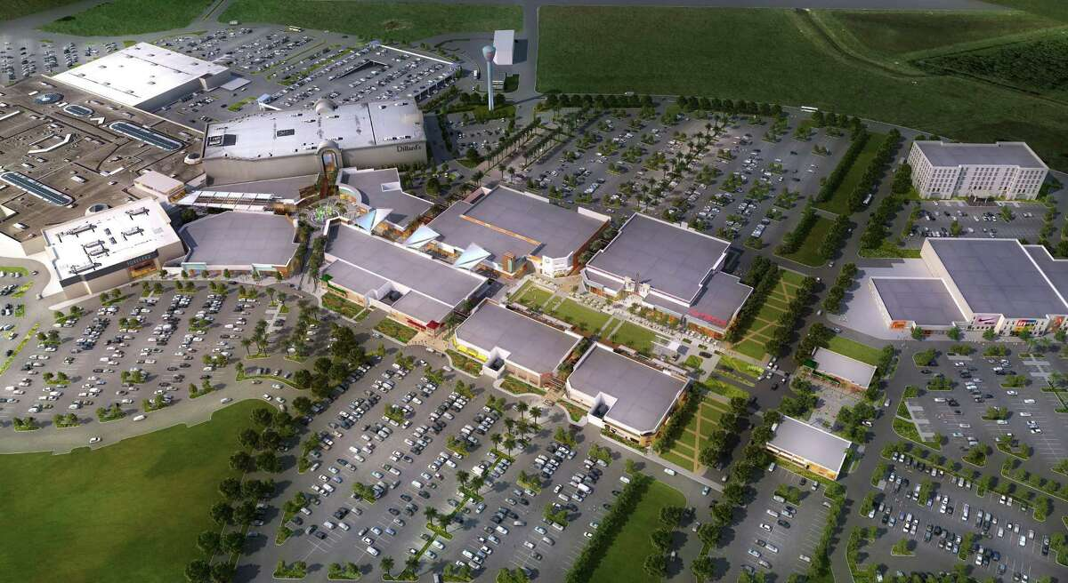 Rendering of proposed new buildings for Baybrook Mall in Webster. The existing buildings have Dillard's and Forever 21 signs.