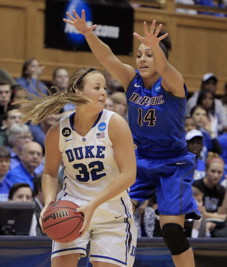 DePaul's Jessica January, who had seven rebounds, applies pressure to Duke's Tricia Liston. Photo: Ted Richardson / Associated Press / FR83921 AP