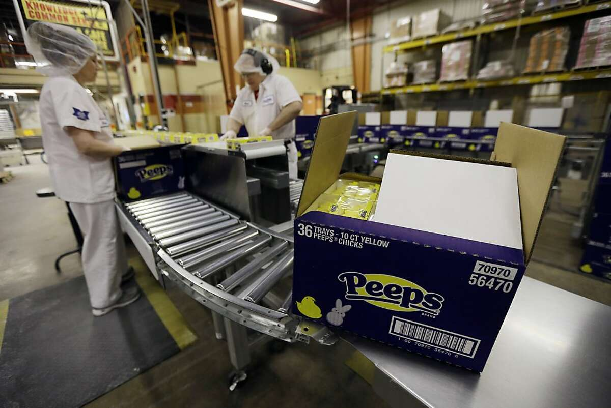 Peeps move through the manufacturing process at the Just Born factory Wednesday, Feb. 13, 2013, in Bethlehem, Pa. (AP Photo/Matt Rourke)
