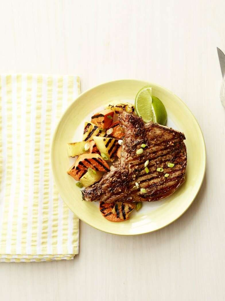 Jerk Pork Chops with Grilled PineappleFrom Good Housekeeping