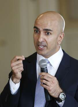 Republican candidate for governor, Neel Kashkari, speaks at the Sacramento Press Club in Sacramento, Calif., Thursday March 6,  2014. Kashkari is blaming Gov. Jerry Brown for California's decline over the last 34 years.  (AP Photo/Rich Pedroncelli)