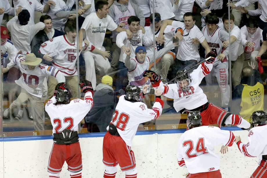 (8) Fairfield Prep's hockey team. They weren't the best or most dominant one in Prep's rich history, but this year's edition, dug deep and rallied to win state title number 16. In the Division I semifinals, the Jesuits beat Notre Dame-West Haven 4-3 in overtime. In the championship game against Darien, Vincent D'Amore, ripped a slapshot home to give Prep a 2-1 sudden death victory over the Blue Wave. Photo: Mike Ross / Mike Ross Connecticut Post freelance -www.mikerossphoto.com