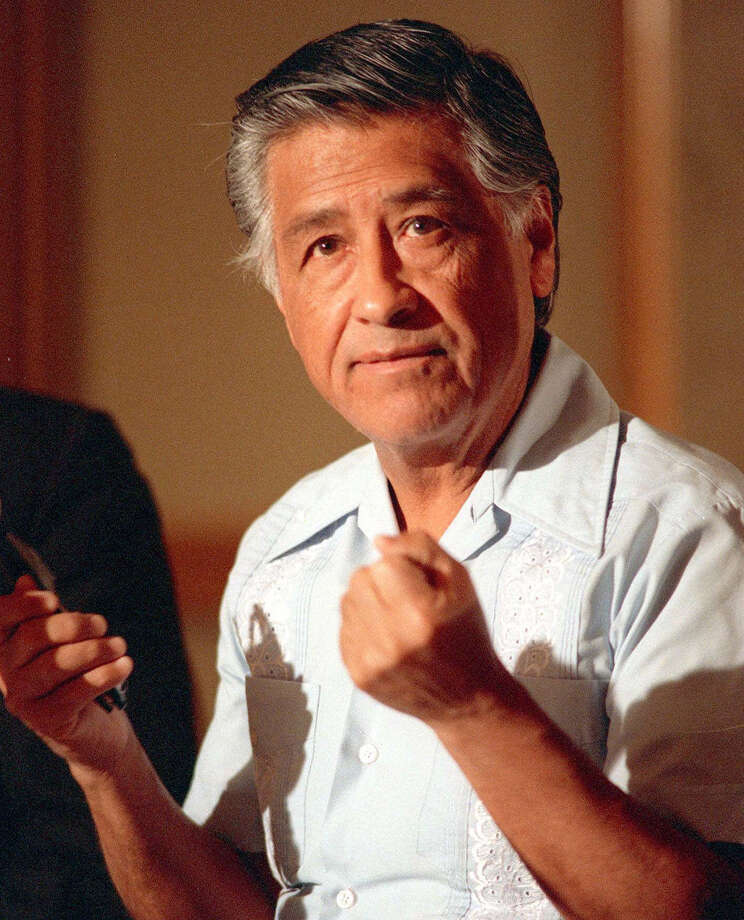 In this 1989 file photo, César Chávez gestures as he speaks during a news conference in Los Angeles. A Hollywood movie about his life opens this week. Photo: Associated Press / AP