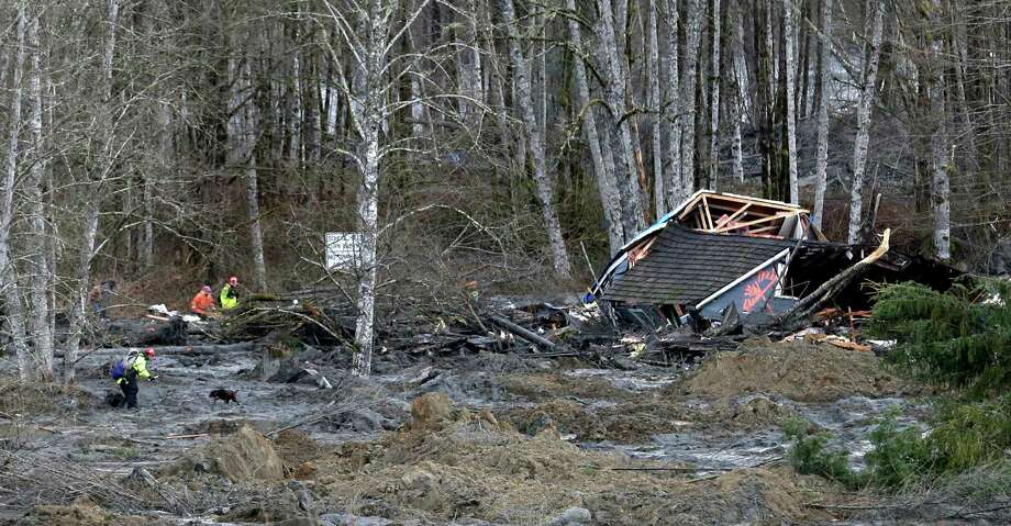 Searchers with a dog work near a demolished home at the scene of a deadly mudslide Tuesday. Photo: Elaine Thompson, Associated Press / AP2014