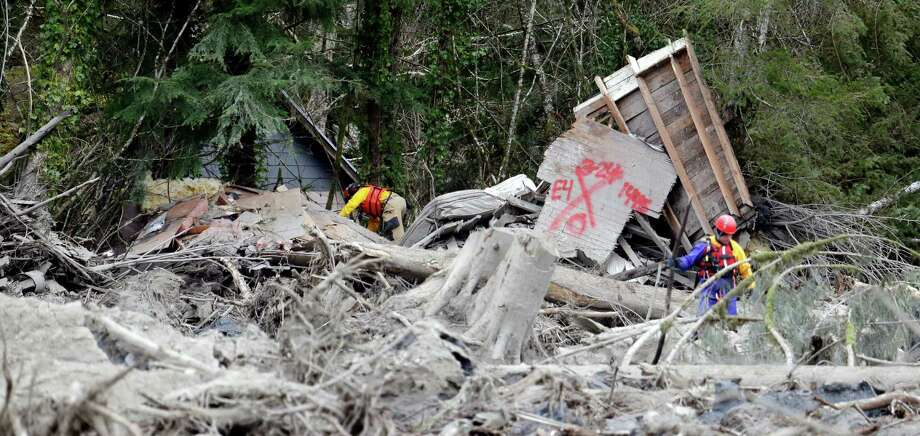 Searchers work through debris caught among trees from a mudslide on Tuesday in Oso. The 1-square-mile slide hit in a rural area about 55 miles northeast of Seattle on Saturday.  Photo: Elaine Thompson, Associated Press / AP2014