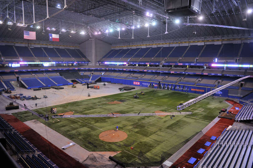 The view of the Alamodome as it will be configured for the Major League Weekend exhibitions games Fr