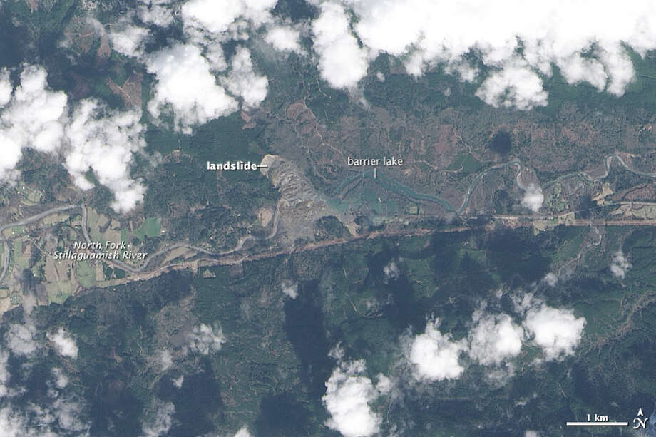 "On March 22, 2014, rainfall triggered a landslide near Oso, Wash., according to the NASA Earth Observatory. Muddy debris was sent spilling across the North Fork of the Stillaguamish River. An after effect of the event created a natural dam that blocked the river, causing a ""barrier lake"" to form in the east."