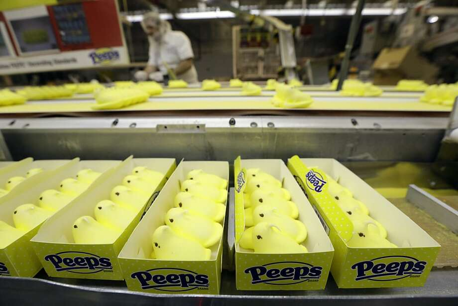Peeps move through the manufacturing process at the Just Born factory.