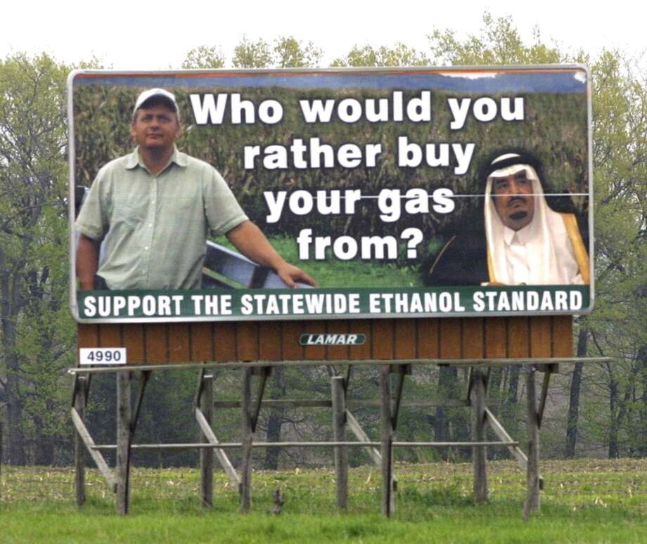 43. Missouri -- $3.331  [Photo: A billboard is seen along eastbound Interstate 70 near Boonville, Mo. in April 2006. These billboards, promoting an ethanol mandate for Missouri fuel, contrast images of an American farmer with those of a Middle East man.] Photo: DUSTIN CUNNINGHAM, AP