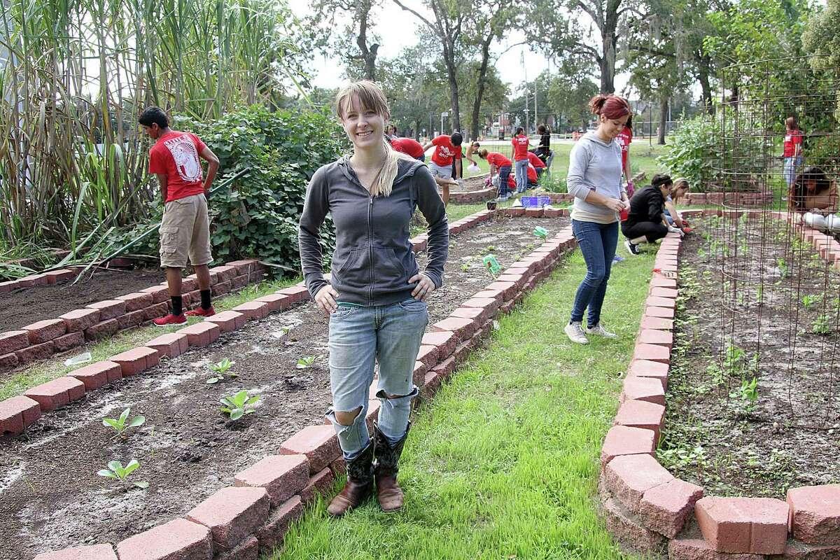 Casey Hall of Needville is the community garden coordinator at the University of Houston.