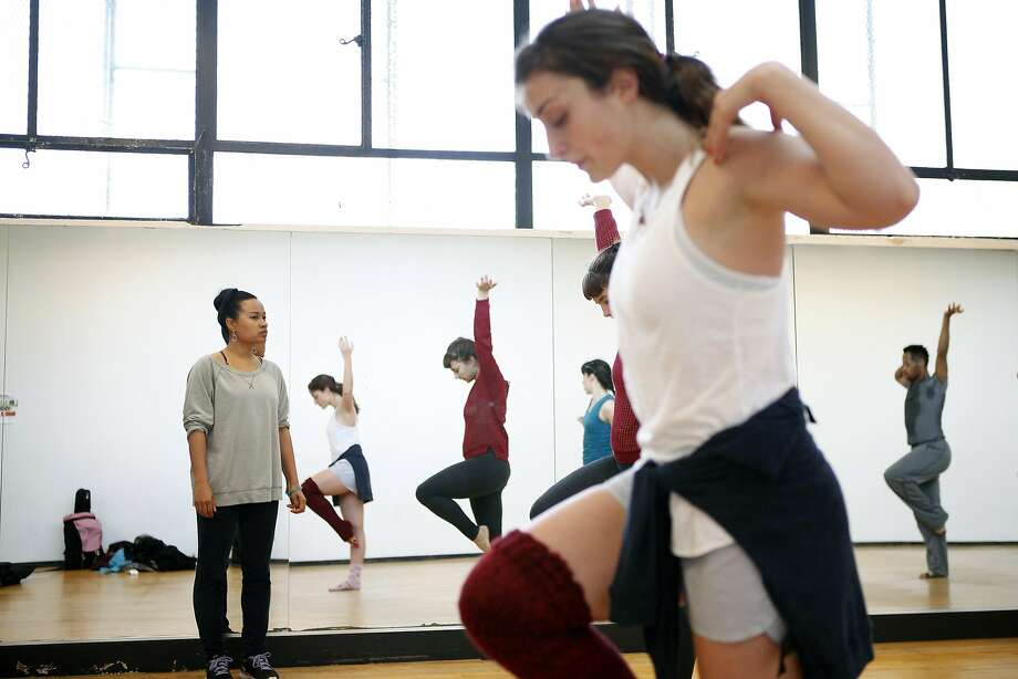 Choreographer Raissa Simpson works with her Push Dance Company to rehearse their work based on the Hunters Point Naval Shipyard. Photo: Michael Short, The Chronicle