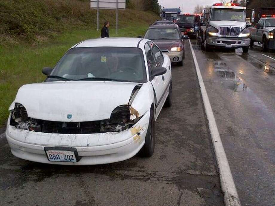 About 20 cars were involved in five crashes on southbound Interstate 5 in Kent Tuesday afternoon. The collisions injured seven people with non-life-threatening injuries. Photo: State Patrol