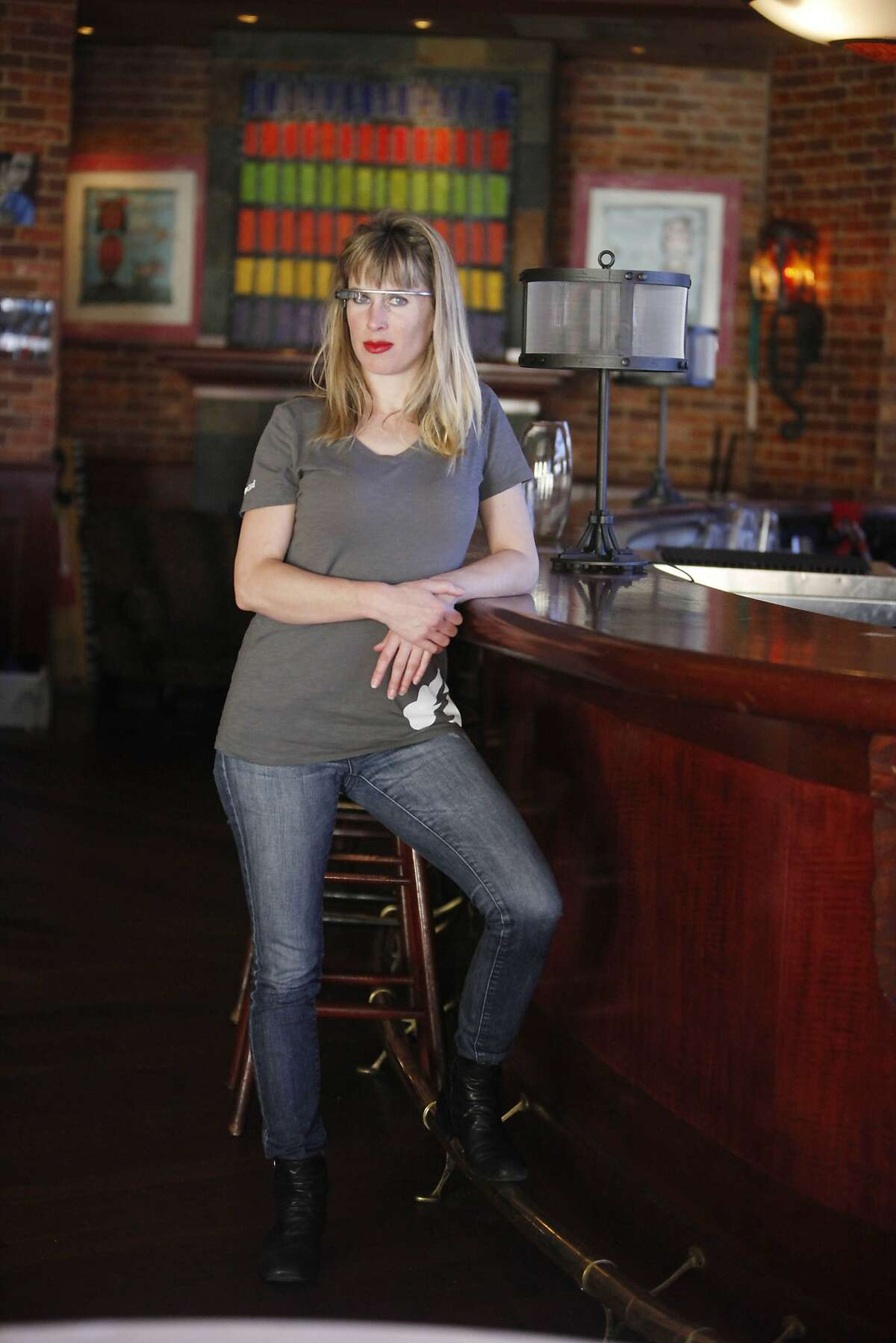 Sarah Slocum, Bay Area resident, wears her Google Glass on Monday, March 24, 2014, in the Bay Area, Calif. Slocum was reportedly attacked while wearing her Google Glass at the Haight Street bar Molotov's in February.