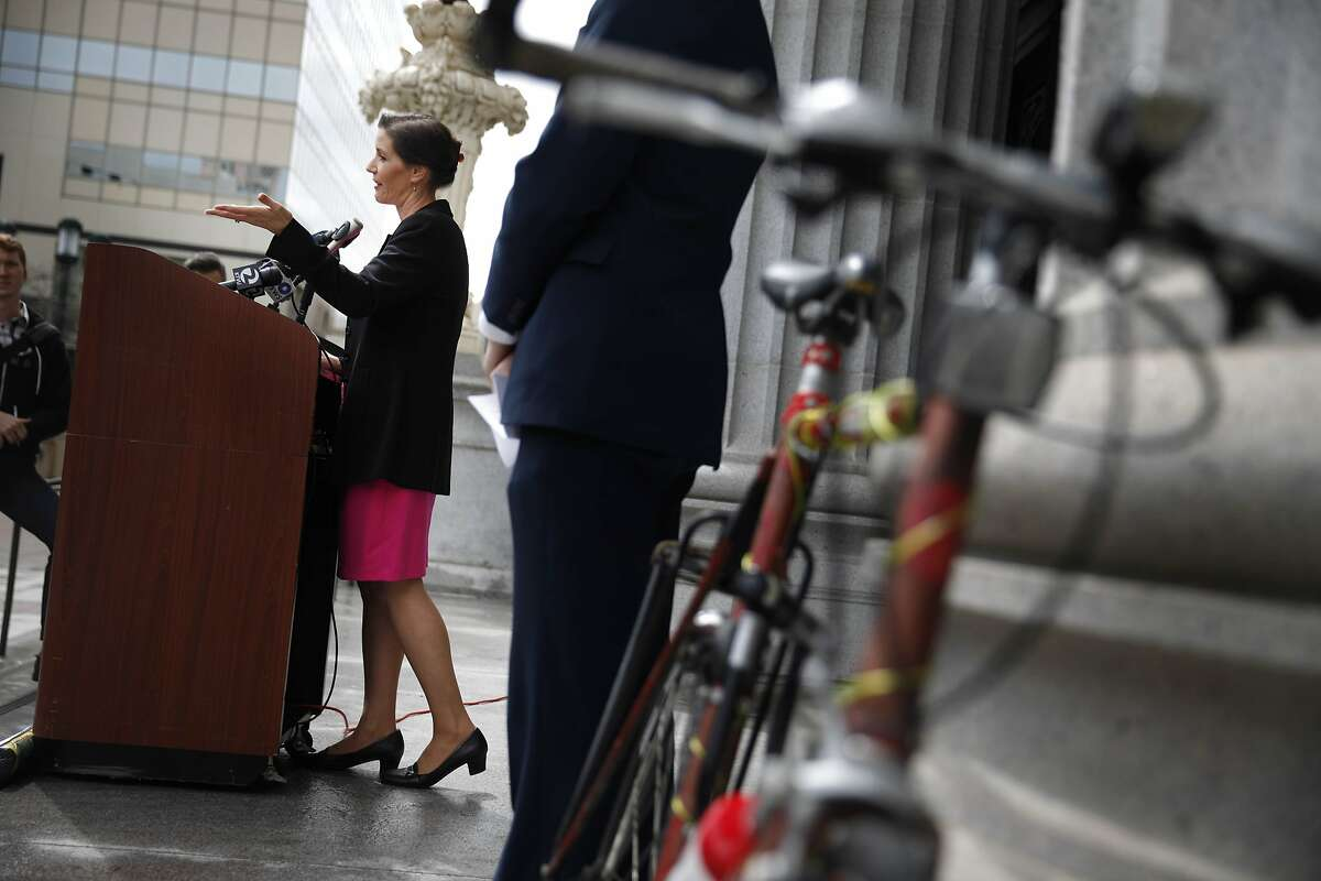 Oakland Councilmember Libby Schaaf speaks during a press conference to present a new study on the dangers to Oakland bicyclists and pedestrians and introducing legislation to reduce harassment of bicyclists and pedestrians on Tuesday, March 25, 2014, in Oakland, Calif.