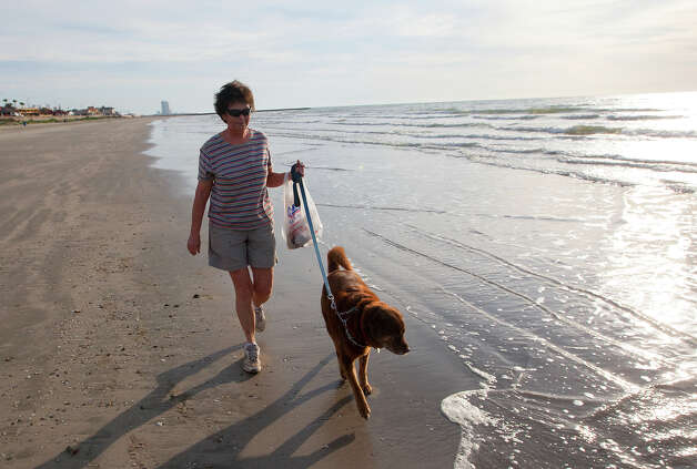 Barbie Cahill walks her dog, Elvis, on the beach along Seawall Blvd., Tuesday, March 25, 2014, in Galveston. Cahill said she hadn't seen any oil that morning. Photo: Cody Duty, Houston Chronicle / © 2014 Houston Chronicle