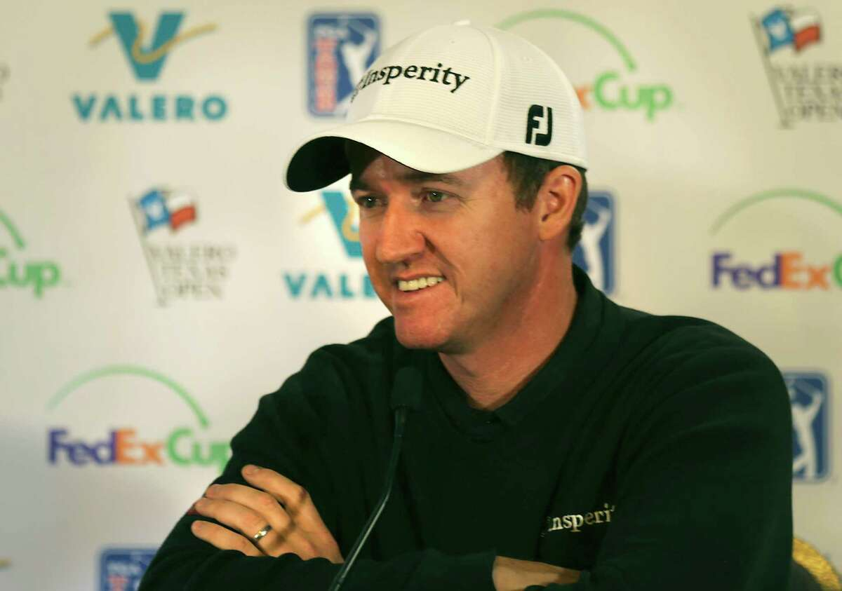 Jimmy Walker answers question in the media tent after practicing for the 2014 Valero Texas Open on the TPC San Antonio AT&T Oaks Course. Tuesday, March 25, 2014.