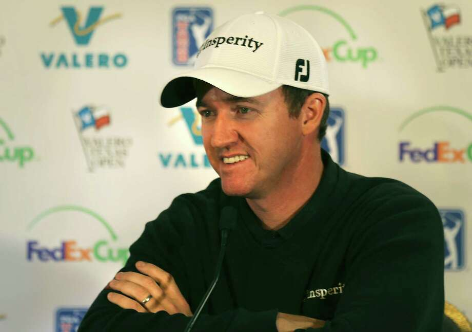 Jimmy Walker answers question in the media tent after practicing for the 2014 Valero Texas Open on the TPC San Antonio AT&T Oaks Course. Tuesday, March 25, 2014. Photo: Bob Owen, San Antonio Express-News / ©2013 San Antonio Express-News