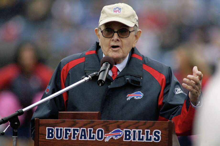 FILE - MARCH 25:  According to reports, Ralph Wilson, founder and owner of the Buffalo Bills, died on March 25, 2014. He was 95. Wilson owned the Bills for 54 years and in 2009 was inducted into the Pro Football Hall of Fame. ORCHARD PARK, NY - SEPTEMBER 21:  Owner Ralph Wilson of the Buffalo Bills speaks during a ceremony adding Bruce Smith's name to the Ralph Wilson Stadium Wall of Fame at halftime of the game against the Oakland Raiders on September 21, 2008 at Ralph Wilson Stadium in Orchard Park, New York. Buffalo won 24-23. (Photo by Rick Stewart/Getty Images) ORG XMIT: 81705436 Photo: Rick Stewart / 2008 Getty Images