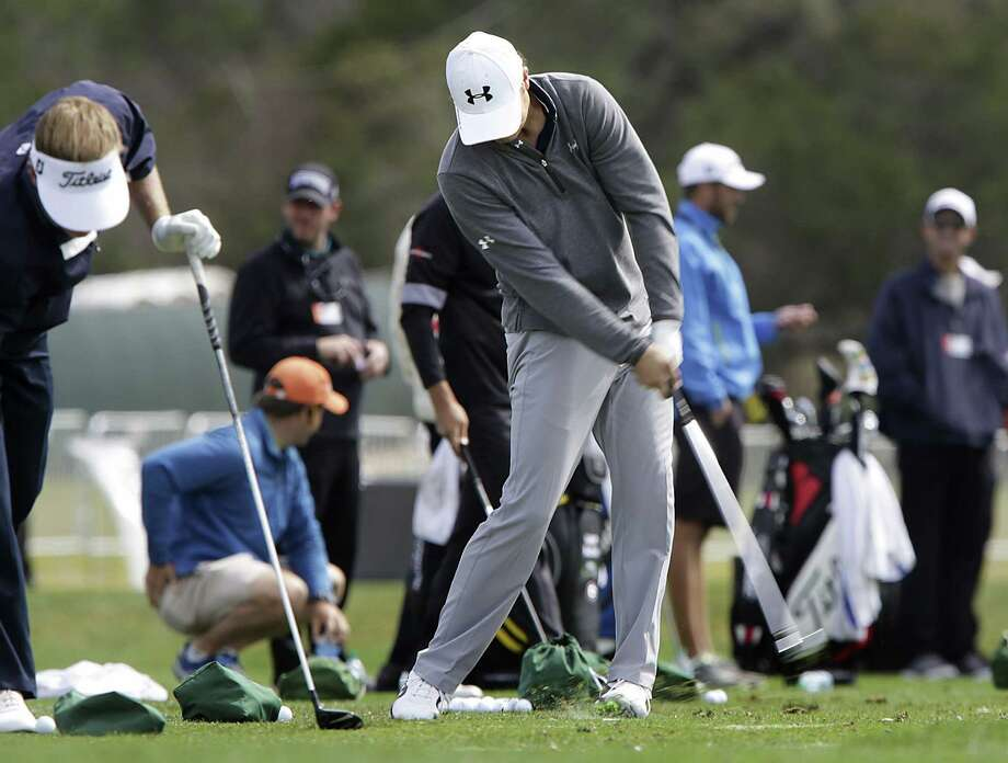 "UT-ex Jordan Spieth hits on the range Tuesday at AT&T Oaks Course. ""I don't like to put unnecessary pressure on guys, but he's borderline phenom in some regards,"" Zach Johnson said. Photo: Bob Owen / San Antonio Express-News / ©2013 San Antonio Express-News"