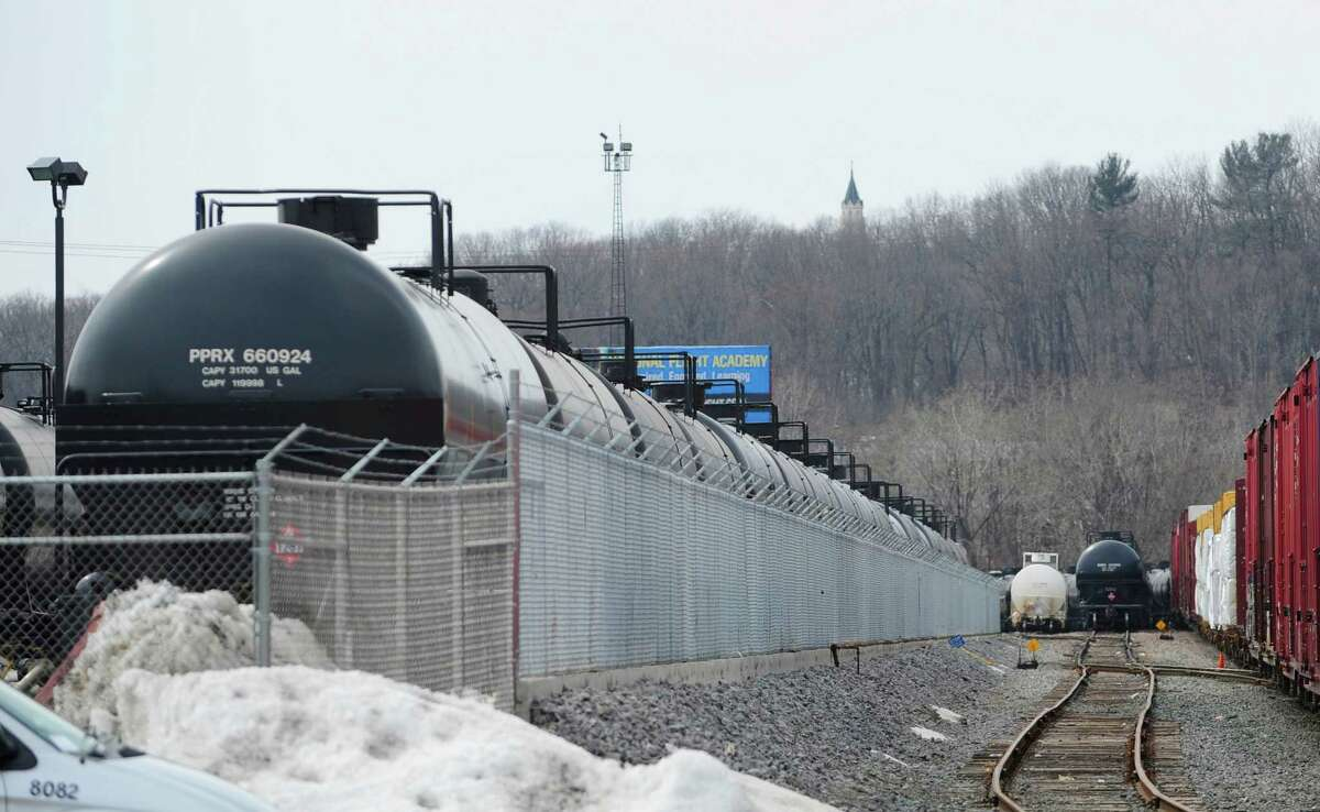Tanker rail cars are seen on tracks near Interstate 787 on Tuesday, March 25, 2014, in Albany, N.Y. (Paul Buckowski / Times Union)