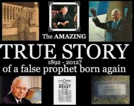 "Another end-of-the-worlder who predicted cataclysm for 1936, 1943, 1972 and 1975, the 80-year-old Herbert Armstrong, married a 38-year-old woman after his last prediction failed, according to Wikipedia. He was the founder of the Worldwide Church of God. (Photo: Screen grab from YouTube video: ""The Worldwide Church of God — The Profits of Doom"")"