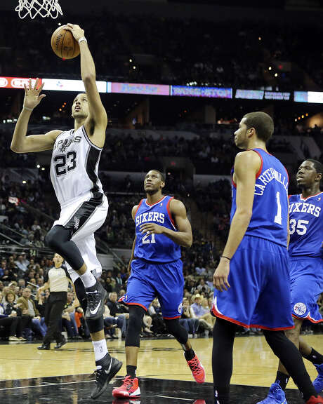 Acquired from Toronto at the trade deadline, Austin Daye became the latest Spurs reserve to turn in a breakout performance when he scored 22 points in 29 minutes Monday in a victory over Philadelphia. Photo: Edward A. Ornelas / Express-News / © 2014 San Antonio Express-News