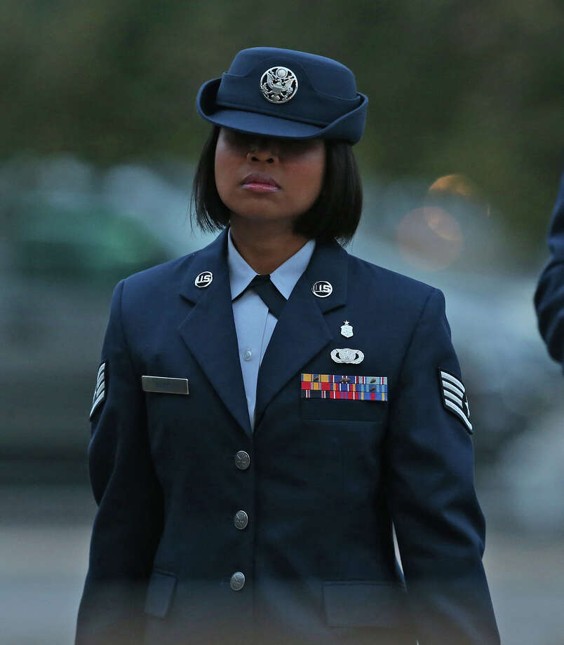 U.S. Air Force Staff Sgt. Annamarie Ellis arrives at Lackland Air Force Base for her trial on malt raining and maltreating basic trainees charges, Monday, March 24, 2014. Photo: San Antonio Express-News / © 2014 San Antonio Express-News