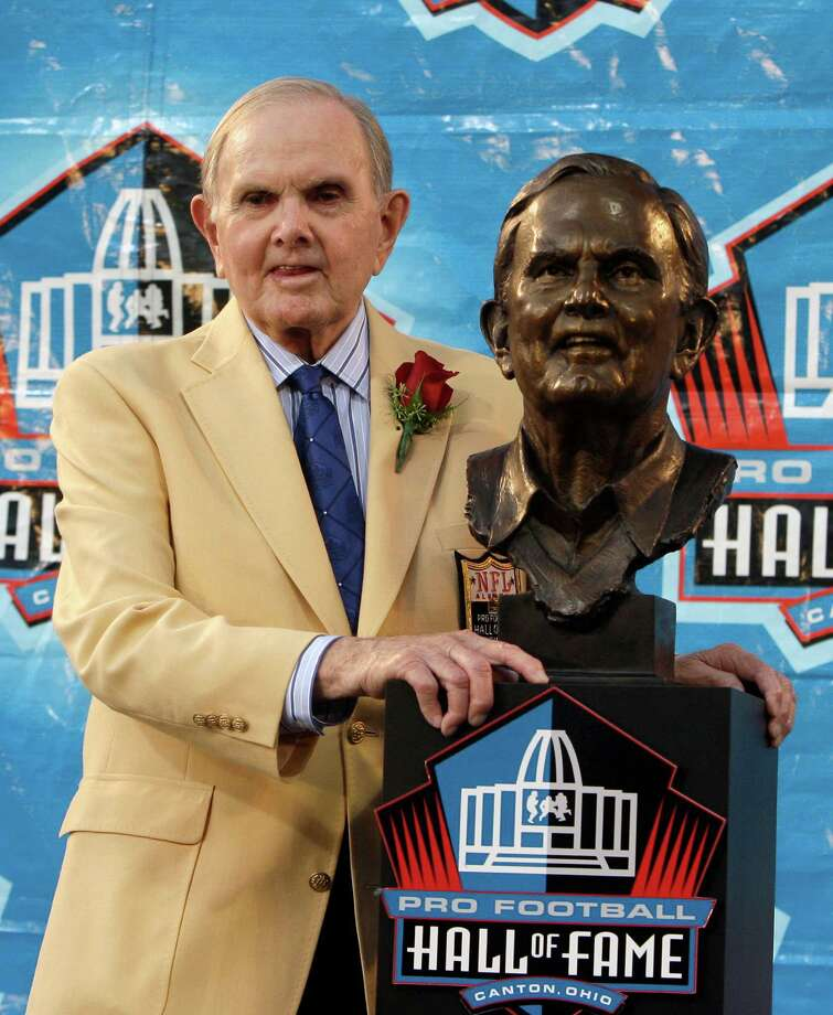FILE - In this Aug. 8, 2009, file photo, founder and owner of the Buffalo Bills, Ralph Wilson Jr., stands with his bronze bust during the Pro Football Hall of Fame induction ceremony at the Pro Football Hall of Fame, Saturday, Aug. 8, 2009, in Canton, Ohio. Bills owner Wilson Jr. has died at his home in Grosse Pointe Shores, Mich., Tuesday, March 25, 2014. He was 95. Bills president Russ Brandon made the announcement at the NFL winter meetings in Orlando, Fla. Wilson Jr. was one of the original founders of the American Football League and owned the Bills for the last 54 years. (AP Photo/Tony Dejak, File) Photo: Tony Dejak, STF / AP
