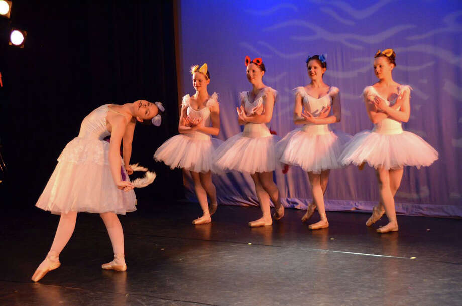 """Fiona,"" an original children's ballet, will be performed by the dance program of the Darien Arts Center April 5 and 6. In front, Juliette Dixon, and in back from left, Sophie Vilter, Hannah Ferguson, Hanna Kahlert and Shannon Dunn. Photo: Contributed Photo, Contributed / Darien News"