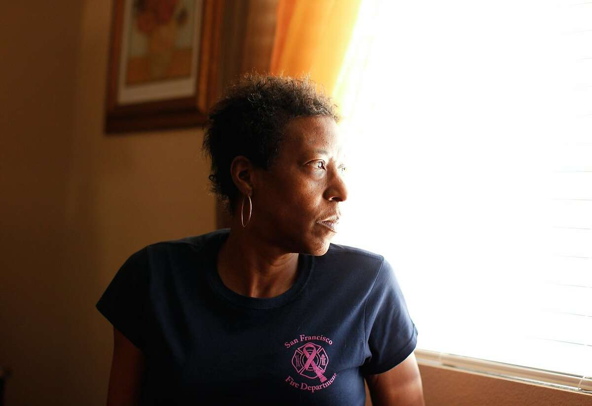 Denise Elarms, 55, a former firefighter in San Francisco, was diagnosed with stage IV breast cancer in 2011 and recently retired from the department. Photographed at her home in Elk Grove, Calif., on Monday, March 24, 2014.