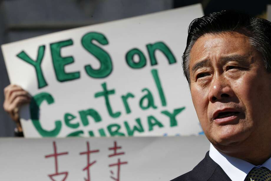 State Senator Leland Yee speaks about his request for details of all contracts for the past five years between the San Francisco Municipal Transportation Agency, city departments and the Chinatown Community Development Center during a news conference on the steps of City Hall on Monday, September 26, 2011 in San Francisco, Calif. Photo: Beck Diefenbach, Special To The Chronicle