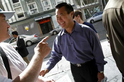 Senator Leeland Yee greets people at the Tenderloin Harvest Party in San Francisco, Calif., Saturday, October 15, 2011. Photo: Sarah Rice, Special To The Chronicle