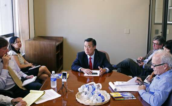 2011 mayoral candidate and state senator, Leland Yee, explains his platform to the editorial board of the San Francisco Chronicle in San Francisco on Sept. 29, 2011. Photo: Tim Maloney, The Chronicle
