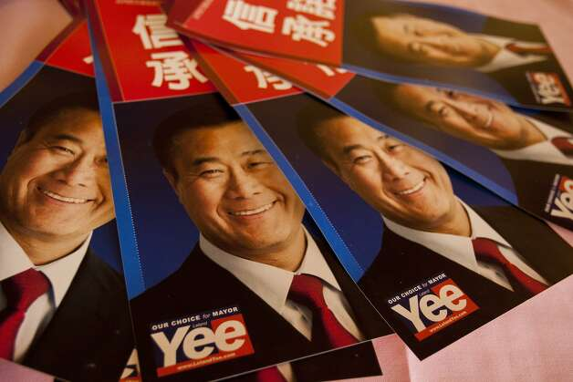 Posters for mayoral candidate and State Sen. Leland Yee are displayed for supporters at the Imperial Palace restaurant in San Francisco, Calif. on Friday, Sept. 23, 2011.  Photo: Thomas Webb, The Chronicle