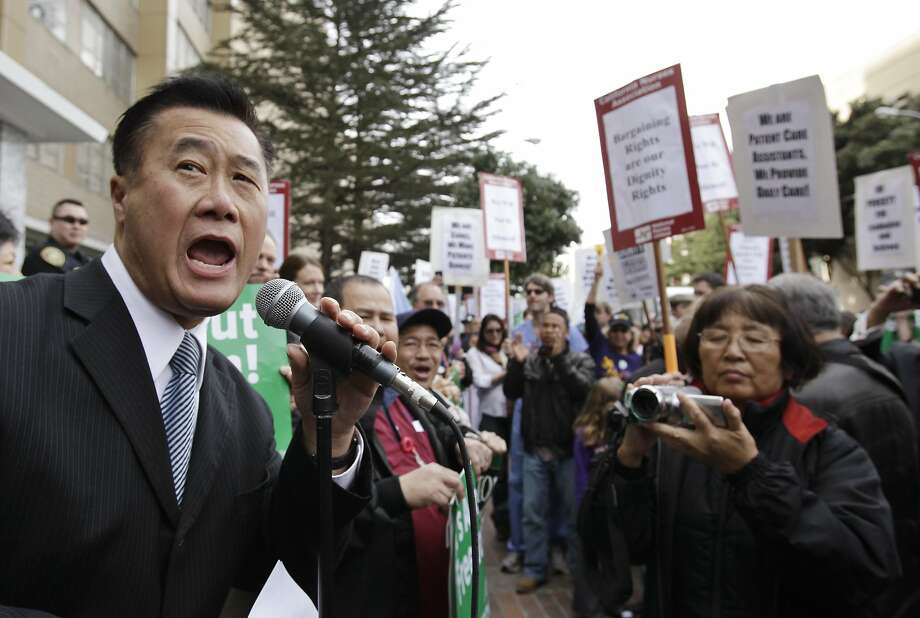 Calif. State Sen. Leland Yee (D-San Francisco) campaigns for San Francisco mayor  in San Francisco, Friday, March 4, 2011 at a rally for University of California workers. Photo: Paul Sakuma, AP