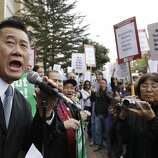 Calif. State Sen. Leland Yee (D-San Francisco) campaigns for San Francisco mayor  in San Francisco, Friday, March 4, 2011 at a rally for University of California workers.