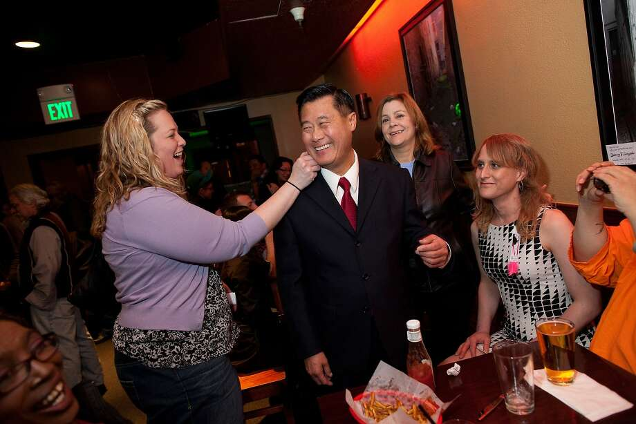California State Senator Leland Yee of district 8 in San Francisco has some lipstick removed from his cheek at a reception in Bucks Tavern on February 9, 2011 in San Francisco, Calif. Photo: David Paul Morris, Special To The Chronicle