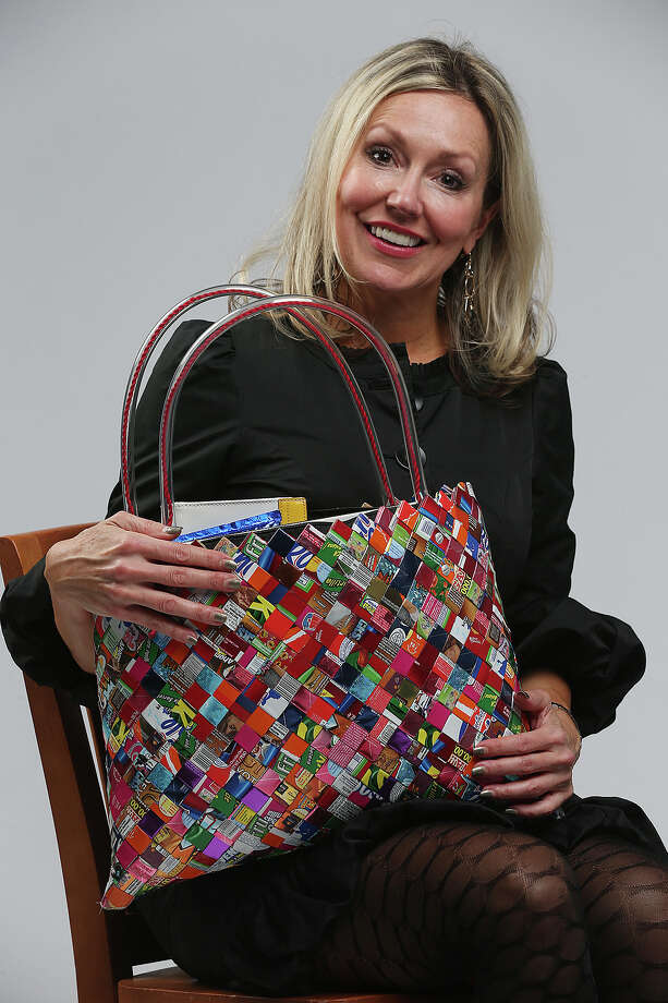 Andi Rodriguez's colorful tote was created in Mexico with woven candy wrappers Photo: San Antonio Express-News / © 2014 San Antonio Express-News