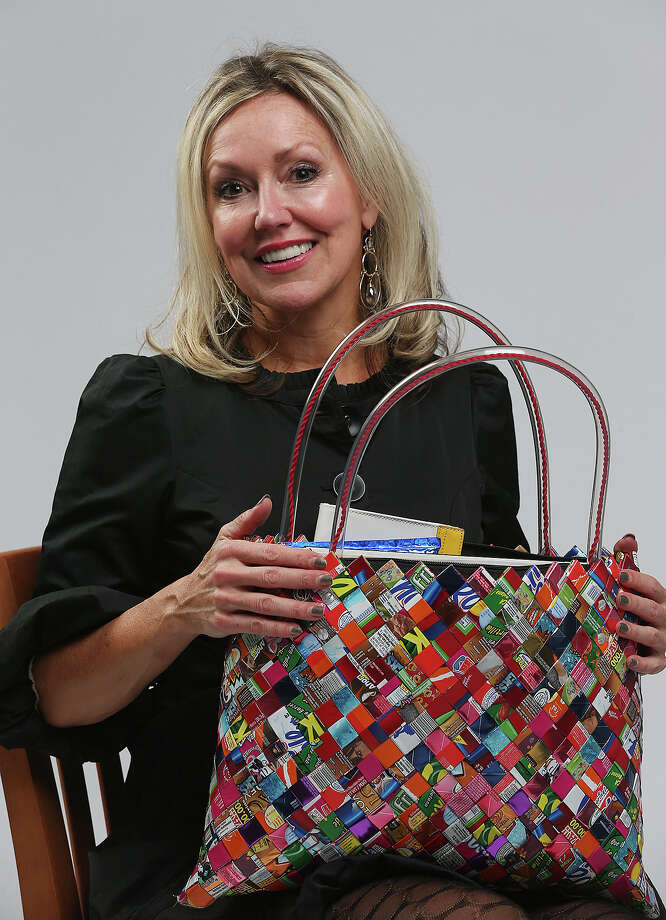 Andi Rodriguez's colorful tote was created in Mexico with woven candy wrappers. Photo: San Antonio Express-News / © 2014 San Antonio Express-News