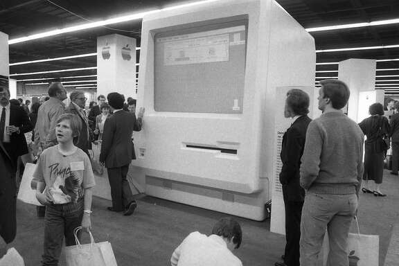 A scene from the first MacWorld at Brooks Hall in San Francisco on Feb. 21, 1985.