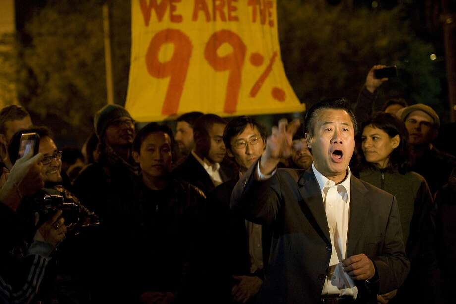 Senator Leeland Yee and other politicians show up and speak in support of OccupySF at Justin Herman Plaza on Thursday October 27, 2011. The police ended up not raiding the camp. Photo: Susana Bates, Special To The Chronicle