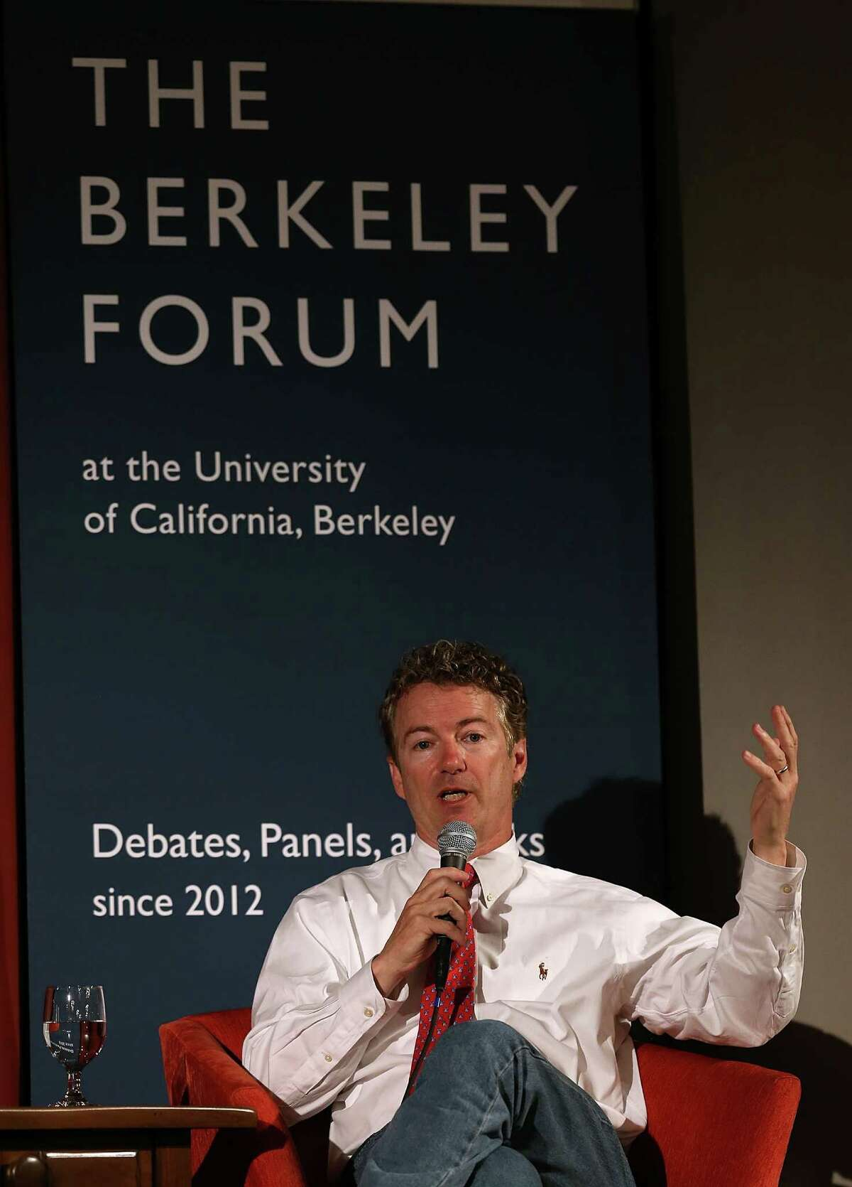 BERKELEY, CA - MARCH 19: U.S. Sen. Rand Paul (R-KY) speaks during the Berkeley Forum on the UC Berkeley campus on March 19, 2014 in Berkeley, California. Paul addressed the Berkeley Forum and focused on the importance of privacy and curtailing domestic government surveillance. (Photo by Justin Sullivan/Getty Images)