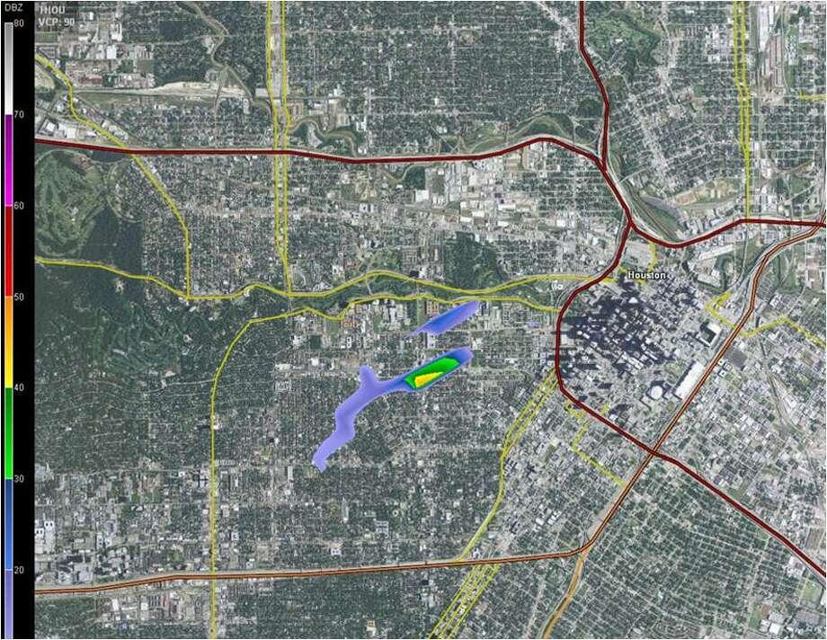 Radar shot taken at 2:52 pm.  Courtesy ImpactWeather, Inc.