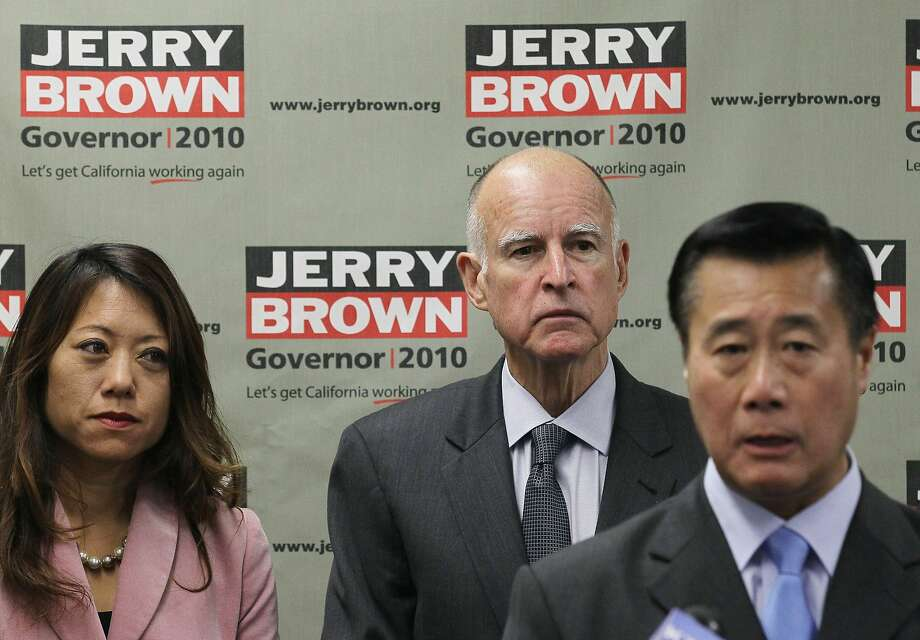 California attorney general and Democratic candidate for governor Jerry Brown (center) and California assemblywoman Fiona Ma look on as California state sen. Leland Yee (right) speaks during a news conference with Asian Pacific Islander leaders on October 18, 2010 in San Francisco. Photo: Justin Sullivan, Getty Images