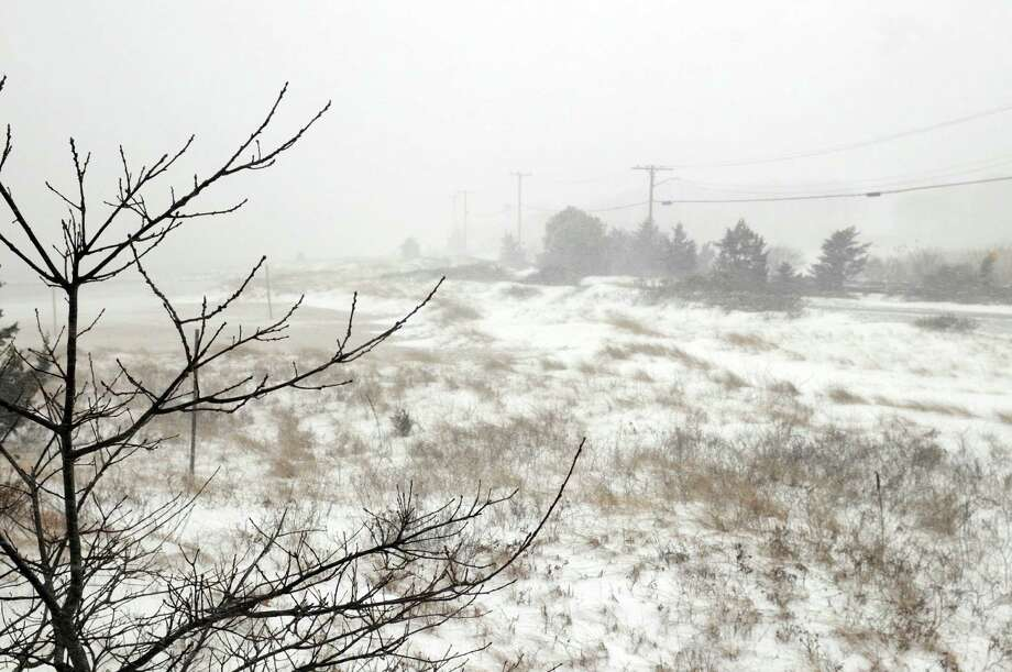 Trees and bushes covered in snow are seen at Keyes Memorial Beach during a snowstorm March 26, 2014 in Hyannis, Massachusetts. An early spring storm brought high winds and some snow accumulation, with blizzard conditions expected to last throughout the morning. Photo: Darren McCollester, Getty Images / 2014 Getty Images