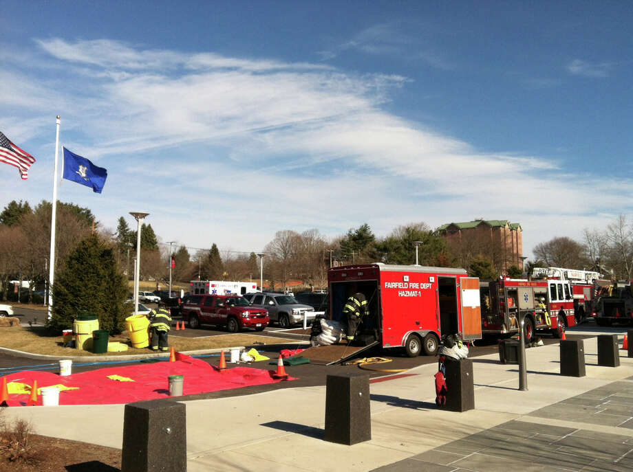 Firefighters responded to Sacred Heart University Wednesday afternoon after a small chemical spill. Photo: Contributed Photo / Fairfield Citizen