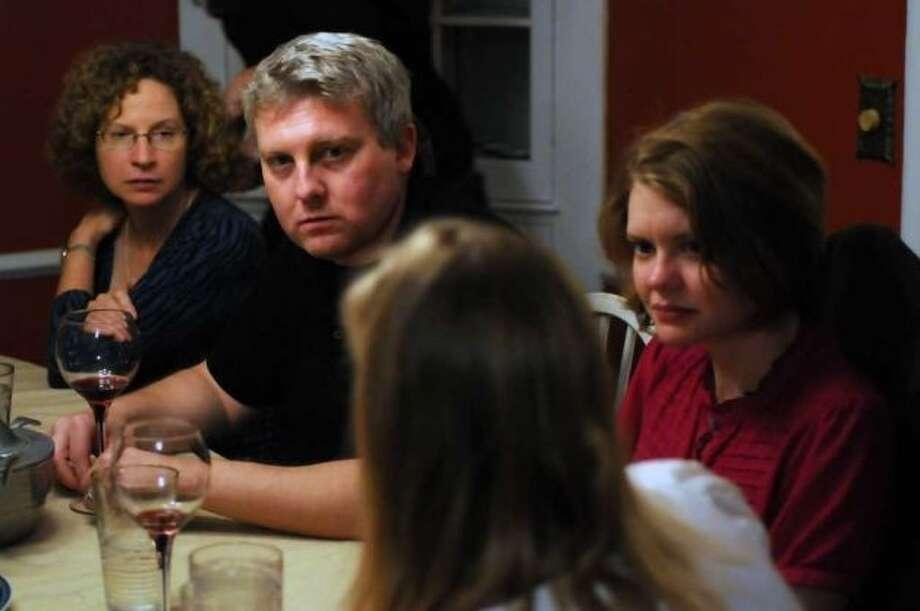 Times Union staffers Mike Goodwin and Jennifer Gish chat. (Philip Kamrass / Times Union) Photo: Times Union Photo Staff