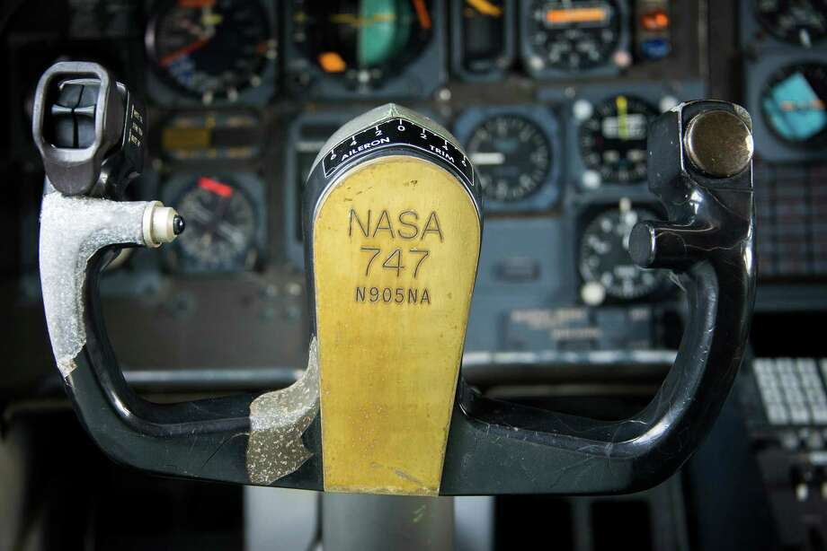 Flight controls on the flight deck of the  NASA Shuttle Carrier Aircraft bear the tail number N905NA of the modified 747.  Photo: Smiley N. Pool, Houston Chronicle / © 2014  Houston Chronicle
